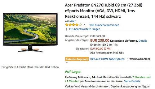 Acer Predator GN276HLbid 69 cm (27 Zoll) eSports Monitor - jetzt 14% billiger