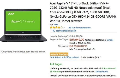 Acer Aspire V 17 Nitro Black Edition (VN7-792G-73X4) - jetzt 17% billiger