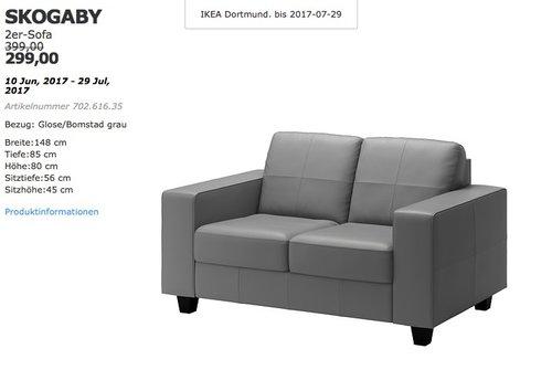 IKEA SKOGABY 2er-Sofa, Bezug: Glose/Bomstad grau - jetzt 25% billiger