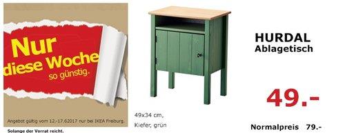 IKEA HURDAL Ablagetisch, 49x34 cm, grün - jetzt 38% billiger
