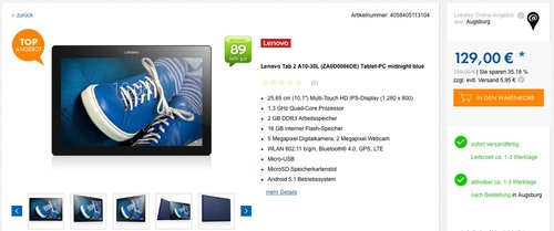Lenovo Tab 2 A10-30L (ZA0D0066DE) Tablet-PC midnight blue - jetzt 19% billiger