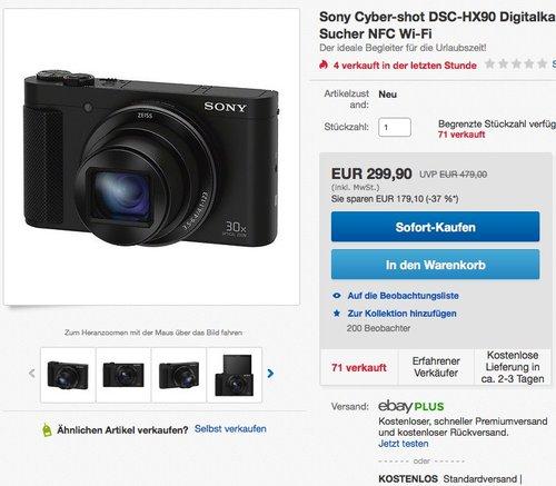 Sony Cyber-shot DSC-HX90 Digitalkamera - jetzt 17% billiger