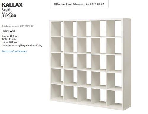 IKEA KALLAX Regal, 182x39 cm, 182 cm hoch, weiß - jetzt 20% billiger