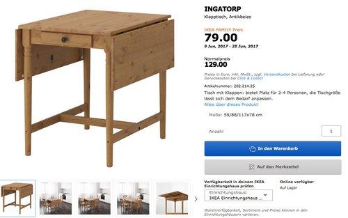 IKEA FAMILY MachMidsommar Angebote bis 25.06.2017 ( Bsp. INGATORP Klapptisch, Antikbeize) - jetzt 39% billiger