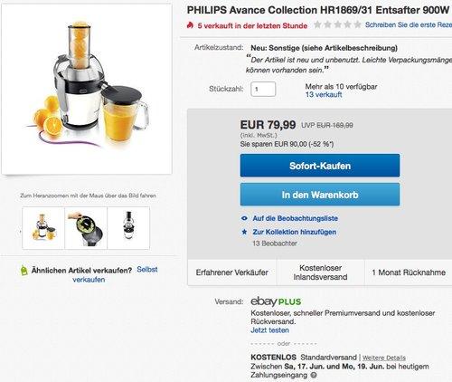 Philips HR1869/31 Avance Entsafter - jetzt 41% billiger