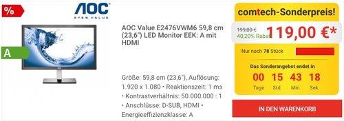 AOC E2476VWM6 59,9 cm (23,6 Zoll) Monitor - jetzt 14% billiger