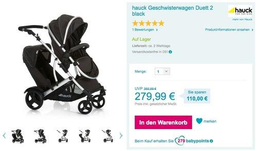 Hauck Duett Geschwisterkinderwagen - jetzt 17% billiger
