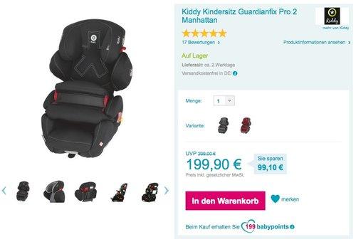 Kiddy Kindersitz Guardianfix Pro 2 Autositz - jetzt 28% billiger