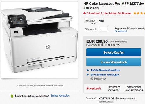 HP Color LaserJet Pro M277dw Farblaserdrucker Multifunktionsgerät - jetzt 11% billiger
