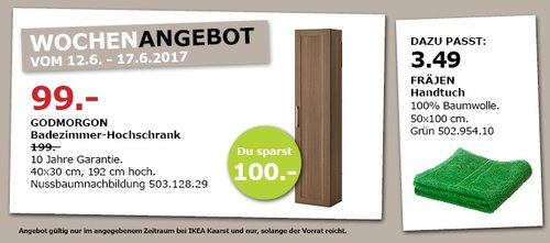 IKEA GODMORGON Badezimmer-Hochschhrank, 40x30 cm, 192 cm hoch. Nussbaumnachbildung - jetzt 50% billiger