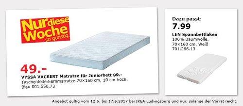 IKEA VYSSA VACKERT Matratze für Juniorbett, 70x160 cm, 10 cm hoch, blau - jetzt 51% billiger