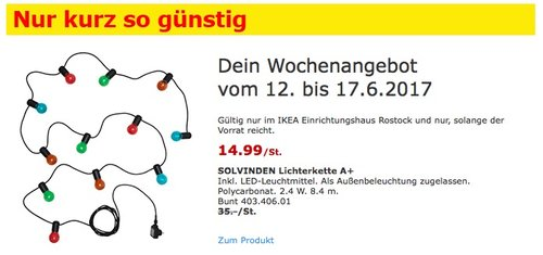 IKEA SOLVINDEN Lichterkette A+ Inkl. LED-Leuchtmittel. Als Außenbeleuchtung zugelassen. 8,4 Meter lang. - jetzt 57% billiger