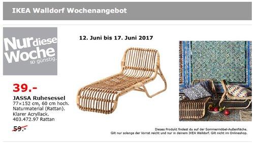 IKEA JASSA Ruhesessel, 77x152 cm, 60 cm hoch, Rattan. - jetzt 34% billiger