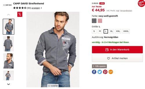 CAMP DAVID Streifenhemd, Regular Fit - jetzt 50% billiger