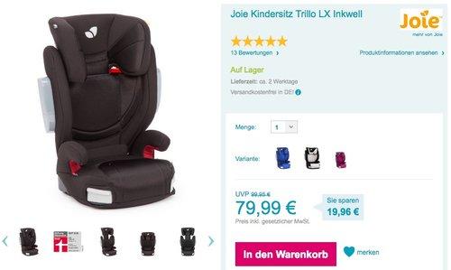 Joie Trillo LX Autokindersitz 15-36 kg Gr. 2/3 Inkwell - jetzt 9% billiger