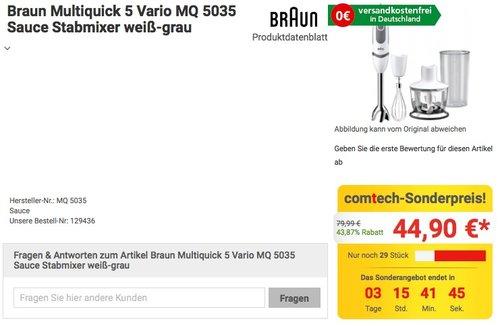 Braun MultiQuick 5 Vario MQ 5035 Sauce Stabmixer - jetzt 18% billiger