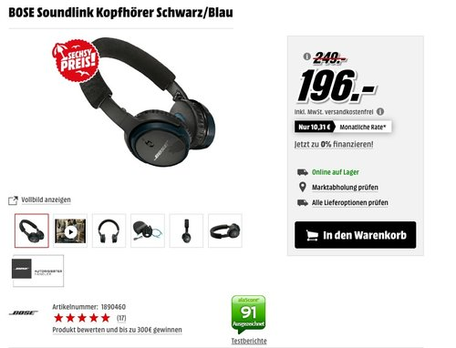 BOSE Soundlink kabellose Kopfhörer - jetzt 6% billiger