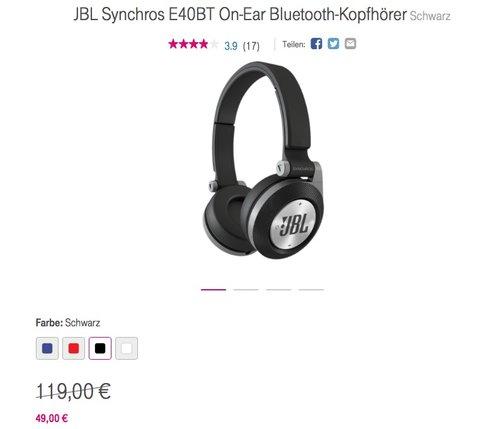 JBL Synchros E40BT On-Ear Bluetooth-Kopfhörer - jetzt 27% billiger