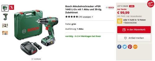 Bosch Akkubohrschrauber »PSR 1440 LI-2« mit 1 Akku und 39-tlg. Zubehörset - jetzt 27% billiger