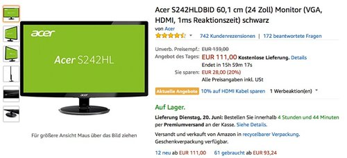Acer S242HLDBID 60,1 cm (24 Zoll) Monitor - jetzt 16% billiger