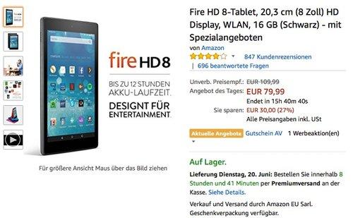 Fire HD 8-Tablet, 20,3 cm (8 Zoll) - jetzt 27% billiger