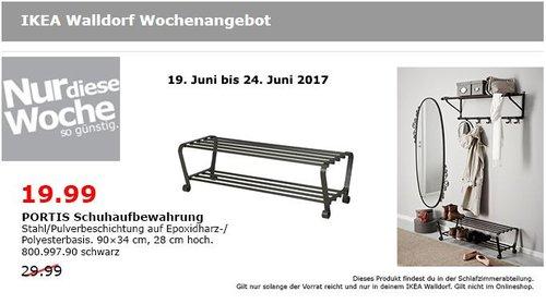 IKEA PORTIS Schuhaufbewahrung 90x34 cm, 28 cm hoch, schwarz - jetzt 33% billiger