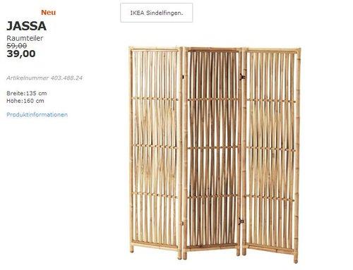 IKEA JASSA Raumteiler, Rattan, 160x135 cm. - jetzt 34% billiger