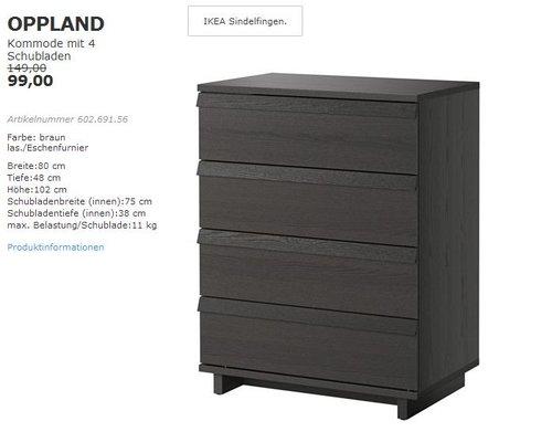 IKEA OPPLAND Kommode mit 4 Schubladen, 80x102 cm, braun las. Eschenfurnier - jetzt 34% billiger