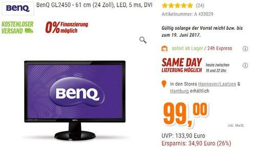 BenQ GL2450 61 cm (24 Zoll) Monitor - jetzt 17% billiger