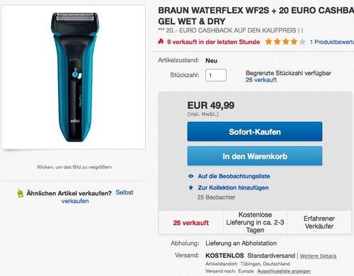Braun WaterFlex Elektrischer Rasierer WF2s, blau incl. Gillette Gel + 20 EURO CASHBACK - jetzt 21% billiger