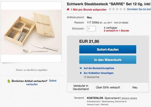 Echtwerk Sarre Steakbesteck-Set, 12-tlg - jetzt 42% billiger