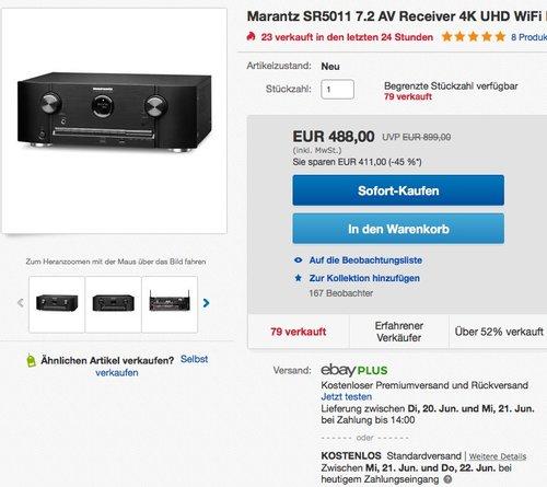 Marantz SR5011 7.2 AV Receiver - jetzt 17% billiger