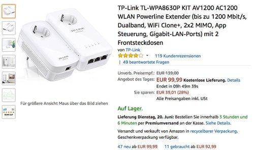 TP-LINK AV1200 Gigabit Powerline WLAN KIT mit Steckdose WPA8630P KIT - jetzt 17% billiger