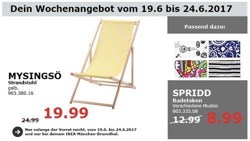 IKEA MYSINGSÖ Strandstuhl, gelb - jetzt 20% billiger