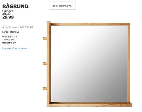 Ikea Ragrund Spiegel Bambus 53x50 Cm 9 Fur 29 99 25