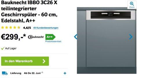 Bauknecht BBC 3C26 X Einbau Geschirrspüler - jetzt 22% billiger