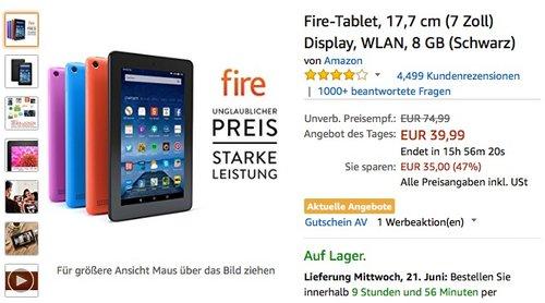 Fire-Tablet, 17,7 cm (7 Zoll) Display, WLAN, 8 GB (Schwarz) - jetzt 47% billiger
