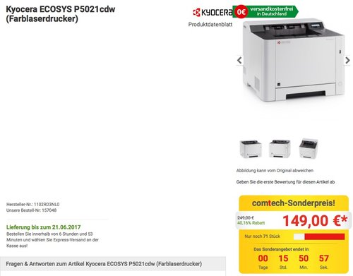 Kyocera Ecosys P5021cdw Farblaserdrucker - jetzt 12% billiger