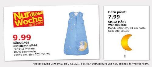 IKEA SÄNGDAGS Schlafsack, für 6-18 Monate, 100% Baumwolle - jetzt 44% billiger