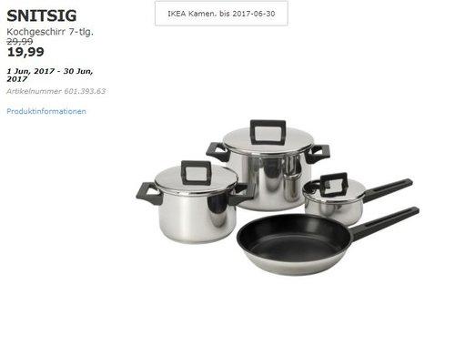 IKEA  SNITSIG Kochgeschirr 7-tlg., Edelstahl - jetzt 33% billiger
