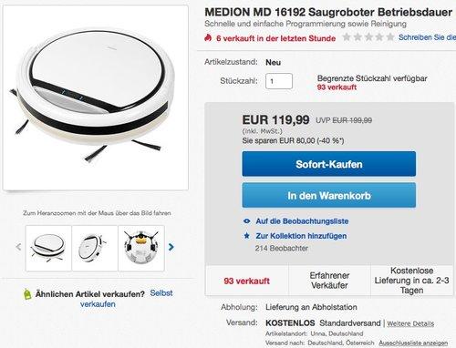 MEDION MD 16192 Saugroboter mit Ladestation - jetzt 16% billiger
