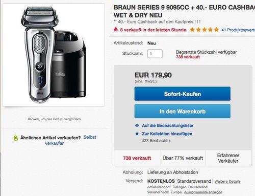 BRAUN SERIES 9 9095CC WET & DRY HERRENRASIERER + 40.- EURO CASHBACK - jetzt 30% billiger