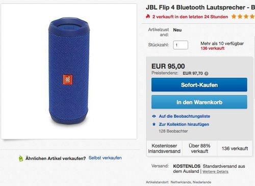 JBL Flip 4 Bluetooth Lautsprecher - Blau - jetzt 20% billiger