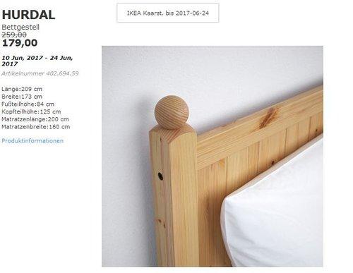 IKEA  HURDAL Bettgestell, hellbraun, 160x200 cm - jetzt 31% billiger