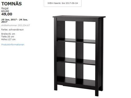 IKEA  TOMNÄS Regal, schwarzbraun, 81x35 cm, 127 cm hoch. - jetzt 29% billiger