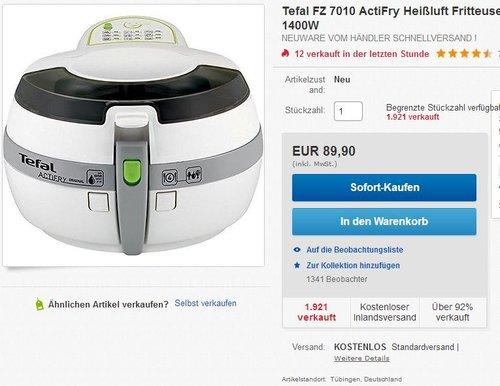 Tefal FZ 7010 ActiFry Heißluft Fritteuse - jetzt 9% billiger
