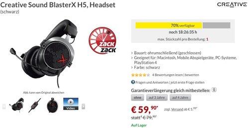 Creative Sound BlasterX H5, Headset - jetzt 22% billiger