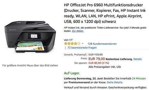 HP OfficeJet Pro 6960 Multifunktionsdrucker - jetzt 21% billiger