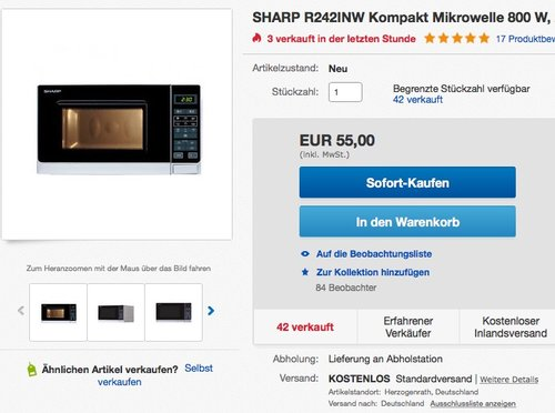 Sharp Electronics R242INW Mikrowellengerät - jetzt 18% billiger