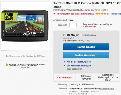 TomTom Start 20 M Central Europe Traffic Navigationsgerät - jetzt 10% billiger